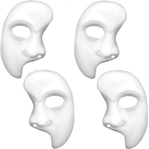 German Trendseller® - 4 x Neutrale Gesichts Halb Maske ┃ 4 x Phantom ┃ Edel Weiß ┃ Linke Gesichtshälfte ┃ Karneval / (Halb Mann Frau Kostüm)