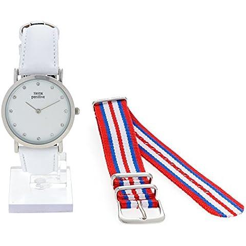 Señoras THINK POSITIVE® Modelo SE W96 Pulsera De Cristal Reloj Medio Plana De Acero De La Correa De Cuero Blanco Hecho En Italia Y Cordora Color Rojo, Azul, Blanco