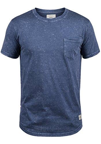 Redefined Rebel Myles Herren T-Shirt Kurzarm Shirt Mit Rundhalsausschnitt Aus 100% Baumwolle, Größe:M, Farbe:Blue