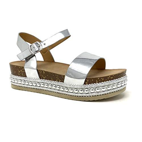 Angkorly - Damen Schuhe Sandalen Mule - Folk/Ethnisch - Böhmen - Plateauschuhe - Nieten-Besetzt - Kork - metallisch Keilabsatz high Heel 5 cm - Silber 3 1059 T 37 Heel Mule