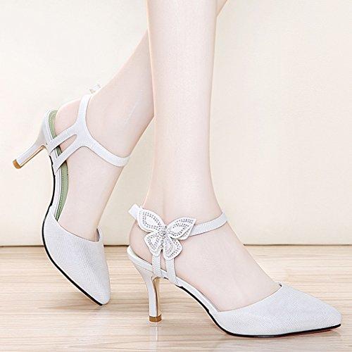 HWF Chaussures femme Chaussures pour femmes Sandales Chaussures simples pour femmes Summer High Heels ( Couleur : Blanc , taille : 38 ) Blanc