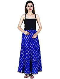 Jingle Impex Blue Gold Printed Cotton Long Skirt For Women ( Free Size)Size: Length- 40 Inches , Waist- Non Stretch...