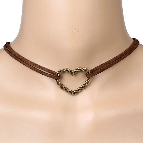 Élégant Rose Multi Couleur Collier ras du cou en velours ras du cou stretch Corde Chaîne avec pendentif pour femme Filles marron