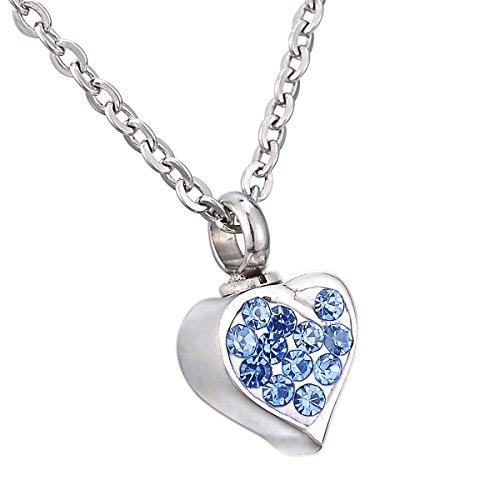 HooAMI Edelstahl Urne Halskette Herz Mit Strass Memorial Mini Size Anhaenger 9.8x11.7mm - Blau Strass