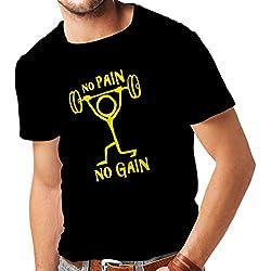 Camisetas Hombre No Pain No Gain - Ropa para el Uso Diario - Fitness, Crossfit, Gimnasio - Citas de Deportes de motivación (XX-Large Negro Amarillo)
