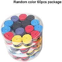 Moliies 60 Piezas de Mango Original Antideslizante pegajoso Fuerte viscoso Gel de Mano Bat Bat Tape Tape béisbol para Raqueta de bádminton - Aleatorio