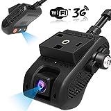 3G/WiFi Caméra de Voiture, Lncoon Double Dashcam Voiture HD 1080p Avant et Arrière avec GPS, G-Capteur, Détection de Mouvement, Alarme de Vibration/SOS, Vidéo en Direct 3G en Streaming Via App/PC
