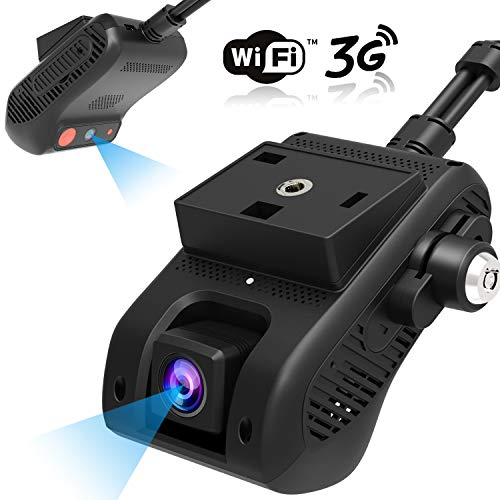 Dash Cam, Lncoon JC200 3G/WiFi Dual Cámara para Coche 1080P HD con GPS, DVR Cámara Loop Grabación/G-Sensor/Corte de energía, Alarma de Vibración/SOS, 3G Transmisión de Video en Vivo a Través de APP/PC