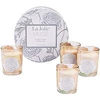LA Jolie Muse Bougies parfumées Cadeau Vacance Lot de 4 Ensemble Cire Naturelle Collection de Bougies votives Quatre Saisons Glass Verre ambré 60g