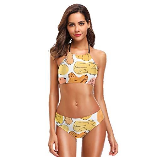 Schuss! Damen 2 Stück Bandeau Bikini Badeanzüge Schulterfrei Hohe Taille Badeanzug M -
