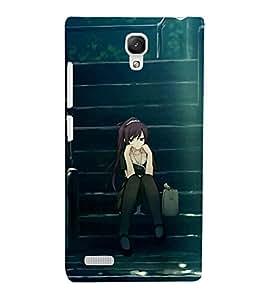 Takkloo cartoon girl girl sitting on stairs,grey bag, girl thinking) Printed Designer Back Case Cover for Xiaomi Redmi Note :: Xiaomi Redmi Note 4G :: Xiaomi Redmi Note Prime