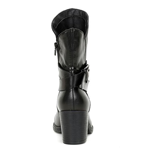 ALESYA by Scarpe&Scarpe - Bottines hautes avec boucle et bride, en Cuir, à Talons 7 cm Noir