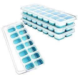 Eiswürfelform,Eiswürfelbehälter mit Deckel 4 Stück Silikon Eiswürfelbox LFGB Zertifiziert Geeignet für die Herstellung von Eiswürfeln, Gelees, Cocktails, Getränken usw - blau