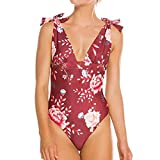 NPRADLA 2019 Damen Jumpsuit Push Up Gepolsterter BH Beachwear Bikini Badeanzug(Weinrot,S)