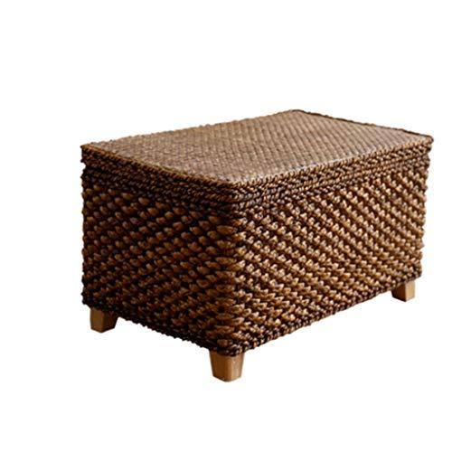 Wicker-schreibtisch-stuhl (Modernes Design Akzent Stuhl Retro bemalte Wicker Box Storage Hocker Lagerung Hocker Schuh Bank Hocker Sofa Hocker - braun)