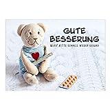 Große XXL Grußkarte mit Umschlag/DIN A4 / Teddy Bär mit Fieberthermometer/Gute Besserung/Krank / Gesundheit/Krankenhaus