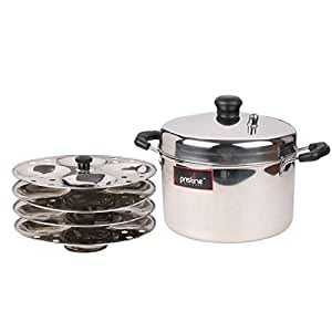 PRISTINE Stainless Steel Idli Cooker, 21 cm / 4 Plates