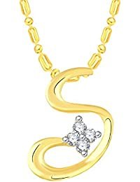 VK Jewels S Shape Gold And Rhodium Plated Alloy CZ American Diamond Pendant With Chain For Women [VKP2656G]