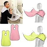 Gaddrt Shaving Cloth Beard Bib Apron Facial Hair Trimmings Catcher Cape Sink Home Salon Tool with 2Pcs Hooks (Pink)