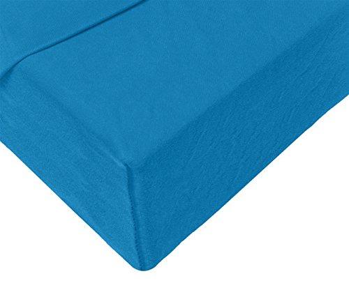 Double Jersey - Spannbettlaken 100% Baumwolle Jersey-Stretch bettlaken, Ultra Weich und Bügelfrei mit bis zu 30cm Stehghöhe, 160x200x30 Petrol - 4