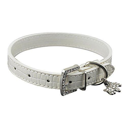 5l Anhänger (PU Lederhalsband Hundehalsband mit Crystal Buckle Dog Anhänger)