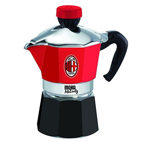 Bialetti Industrie 4352 Melody Moka - Cafetera italiana (3 tazas), diseño del AC Milan