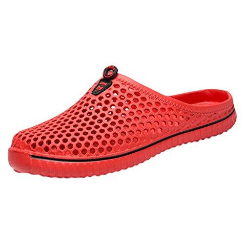 Männer Schuhe Unisex Casual Paar Strand Sandale Flip Flops Schuhe Damen Flip Flop Summer Beach Pool Schuhe Zehentrenner Slim Herren Sandalen Flip Loch Schuhe Sandalen Regen Stiefel (36, Rot)