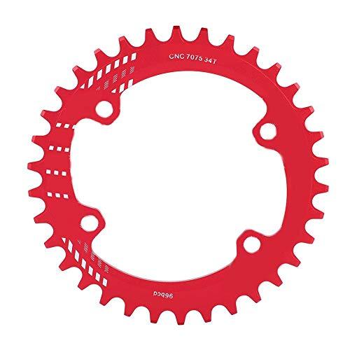 SolUptanisu Fahrradkettenblatt Kettenschutz 32T 34T 36T 38T BCD 96MM schmales breites Kettenblatt Einzelkettenblatt Round Chainring für Kurbeln der Serien M6000 M7000 M8000 M9000(34T-Rot) -