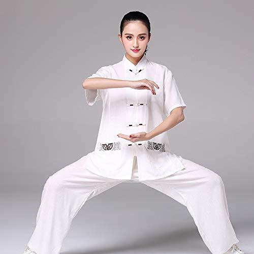 YXLONG Bequem Atmungsaktiv Tai Chi Kampfkunst Kleidung Anzug Sommer Stickerei Kurzarm (Bombe Anzug Kostüm)