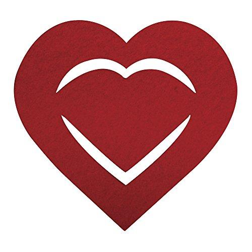 Rayher 53568295 Filz Manschette für Servietten Herz, 10,5x10x0,2cm, SB-Btl 6Stück, royalrot - 568 Sb