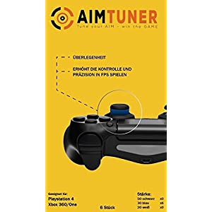 AIMTUNER 12 Blaue Schaumstoff-Ringe zur Verbesserung deiner Zielsicherheit – PS4 Aim Assistance Stoßdämpfer – Zielhilfe für FPS Spiele – Analogstick Tuner für Playstation und Xbox One & 360