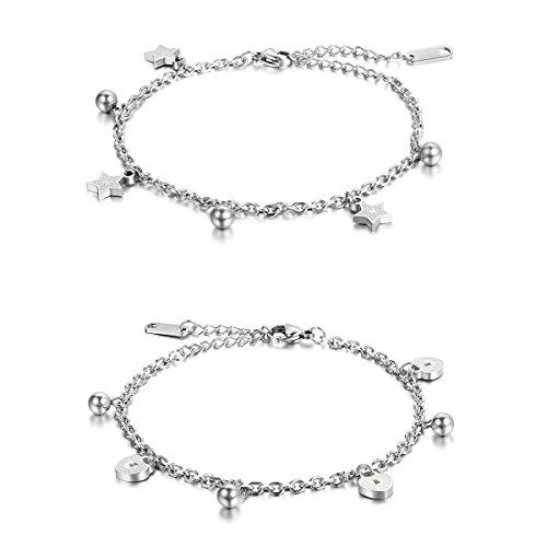Cupimatch Damen Armband Fußkette Herzchen Sternen Kugel Armkette Silber Rosegold Armreif, Doppelt Kette Armband für Frauen Mädchen