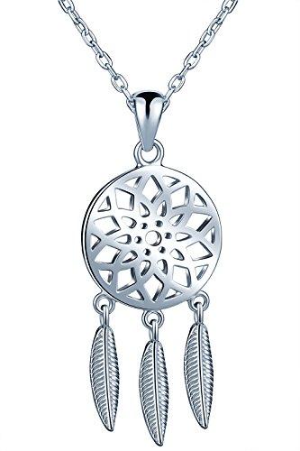 Traumfänger Damen Mädchen Halskette 925 Sterling Silber Anhänger Verstellbare Kette, Silber (Einzigartige Traumfänger)