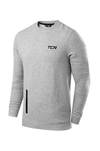 Liebe Long Sleeve Thermal (TCA Force Thermal Herren Langärmliger Rundkragen Pullover mit Reißverschlusstasche - Hellgrau, M)