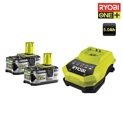 Preisvergleich Produktbild Ryobi Akkus, 18V, OnePlus, 5.0Ah Li-ion, 2 St.–1Schnellladegerät RBC18LL50