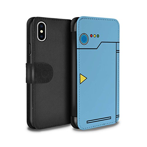 Stuff4® PU-Leder Hülle/Case/Tasche/Cover für Apple iPhone XS/Blau Muster/Anime Cartoon Kodex Kollektion
