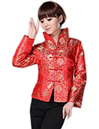 JTC Red Chinese Top Womens Oriental Tunic Outerwear Coat