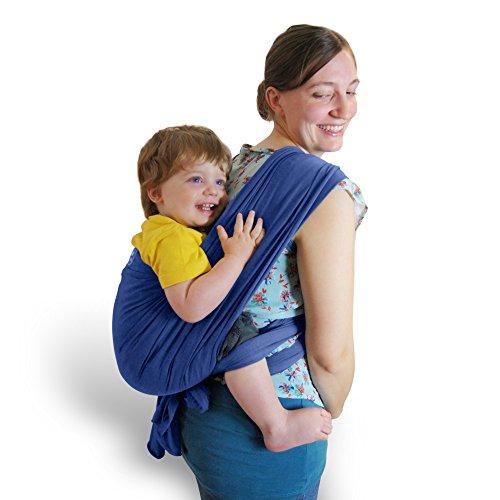 Premium Baby-Tragetuch aus 100% Baumwolle für Neugeborene und Kleinkinder | Hochwertiges Umhängetuch | Elastisches Kindertragetuch mit deutschsprachiger Anleitung für Bindetechniken (Hell-Blau) - 7