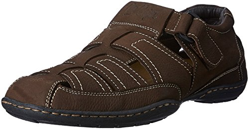 Lee Cooper Men's Brown Leather Sandals and Floaters - 9 UK/India (43 EU)