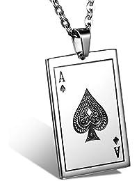 JewelryWe Bijoux Pendentif Collier Homme Chaîne 55cm Carte De Poker Bêche A Acier Inoxydable Fantaisie pour Homme et Femme Couleur Noir Argent Avec Sac Cadeau