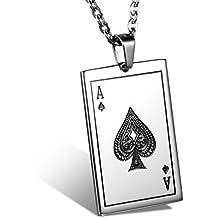 Oidea Collana per Uomo collana in acciaio inox con pendente Poker regalo per ragazzo nero argento