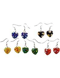 SODIAL (R) 5 pares Pendientes de Murano Colgantes de milflores corazon 16mm