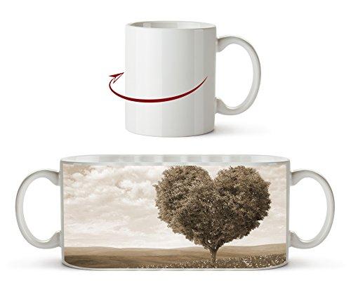Romantischer Baum in Herzform Effekt: Sepia als Motivetasse 300ml, aus Keramik weiß, wunderbar als...
