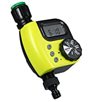 ‏‪KKmoon Automatic Water Timer Outdoor Garden Irrigation Controller 1-Outlet Programmable Hose Faucet Timer Garden Automatic Watering Device without Battery Yellow‬‏