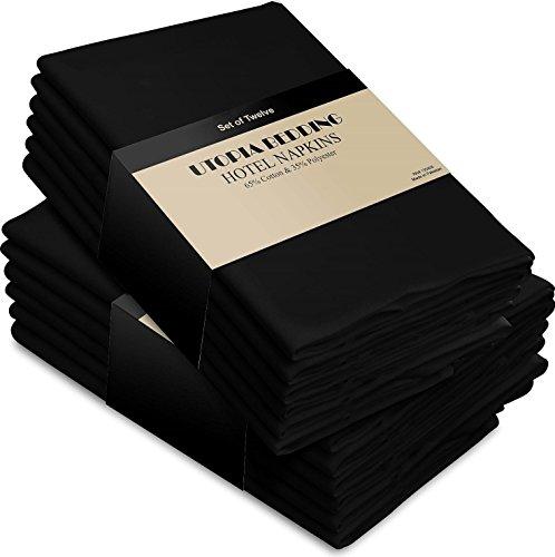 Serviettes de table en coton noir - Paquet de 12 (46 x 46 cm) Doux et confortable - Qualité d'hôtel durable - Idéal pour les événements et l'utilisation régulière de la maison - par Utopia Bedding