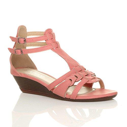 Femmes mi-bas talon compensé gladiateur romain salomé sandales pointure Corail