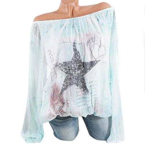 b1f30342339e Innerternet Damen Langarmshirt Damen Sexy Oberteile Schulterfrei Shirt  Casual Oversized Tops Langarm Pullover Blouse Tuniken Hemden
