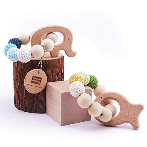 Mamimami Home 2pc Baby Teether natürlichen Holz Zahnenring Ring Krankenpflege Häkeln Perlen Holzfisch Elefanten Rattle Spielzeug organischen Baby-Spielzeug