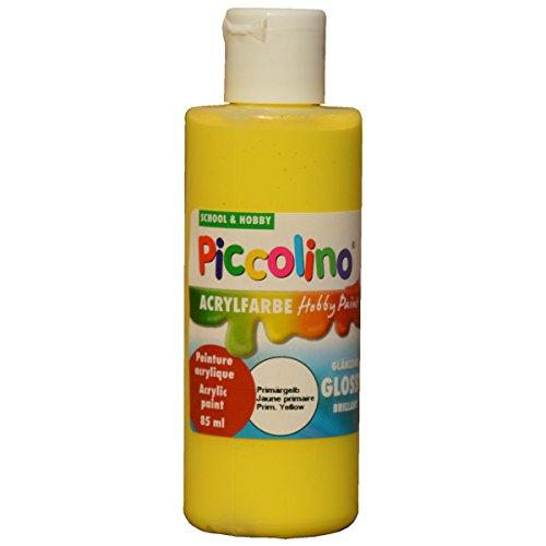 PICCOLINO Hobby Paint - Couleur peinture acrylique brillante - flacon de 85ml, Jaune prima