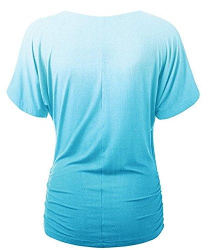 Damen Blusen T-Shirt Hemdblusen kurzarm V-Ausschnitt Einfarbig dünn farbverläufe Pastell Luftig Fashion Chic Blau
